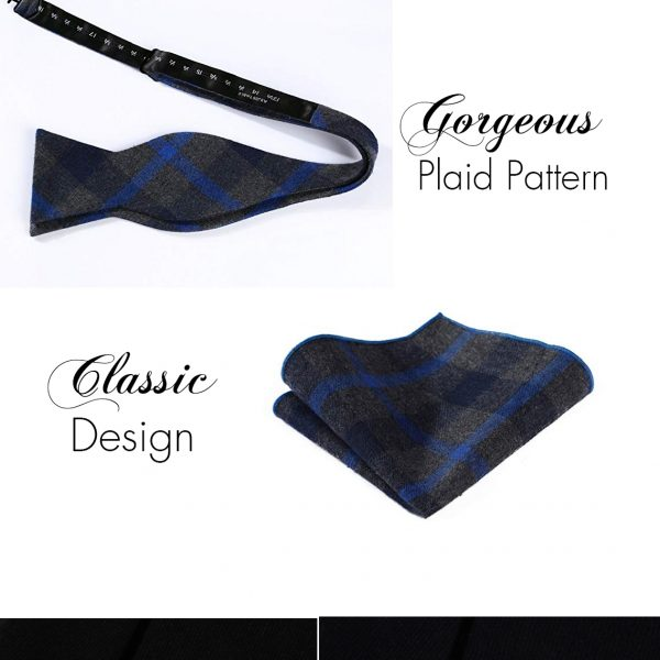 Gray And Blue Plaid Bow Tie Sets