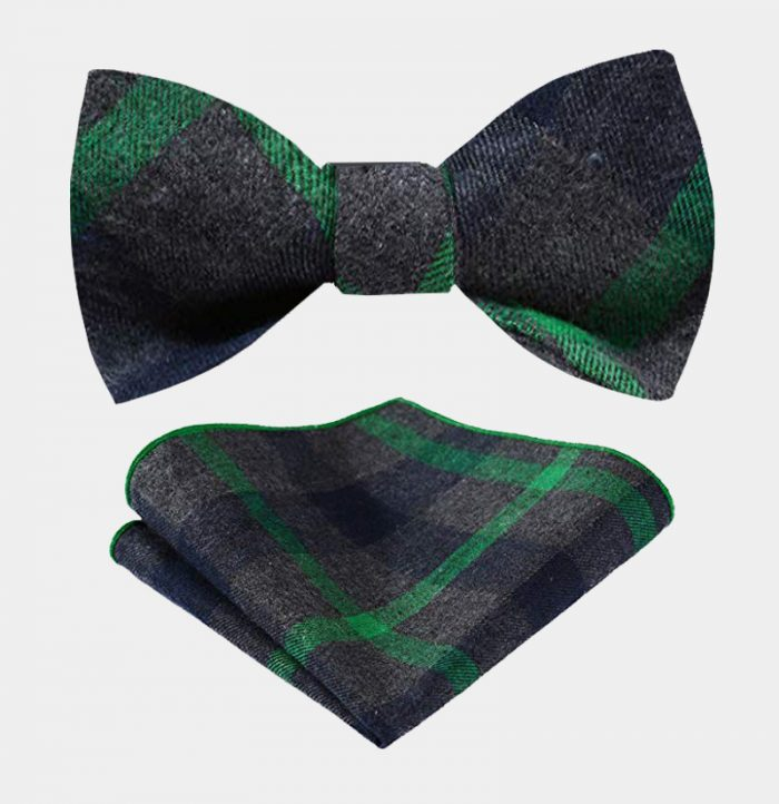 Green And Gray Plaid Bow Tie Set-from Gentlemansguru.com
