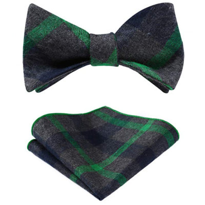 Green And Gray Plaid Bow Tie Sets