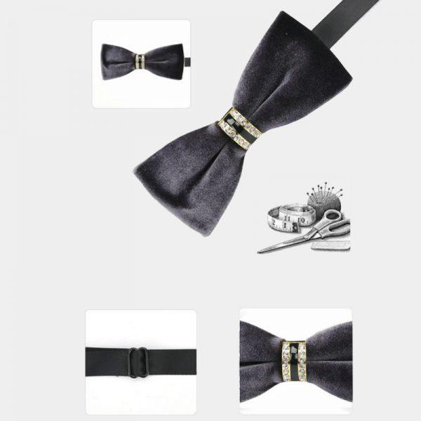 Mens Gray Velvet Bow Tie from Gentlemansguru.com