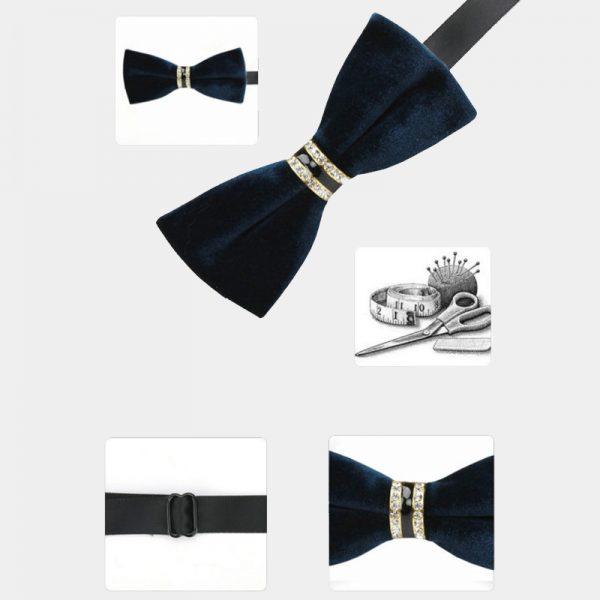 Mens Navy Blue Velvet Bow Tie from Gentlemansguru.com