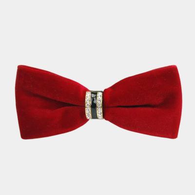 Mens Red Velvet Bow Tie from Gentlemansguru.com