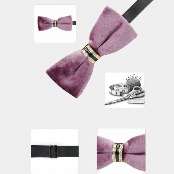 Mens Velvet Pink Bow Tie from Gentlemansguru.com