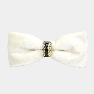 Mens White Velvet Bow Tie from Gentlemansguru.com