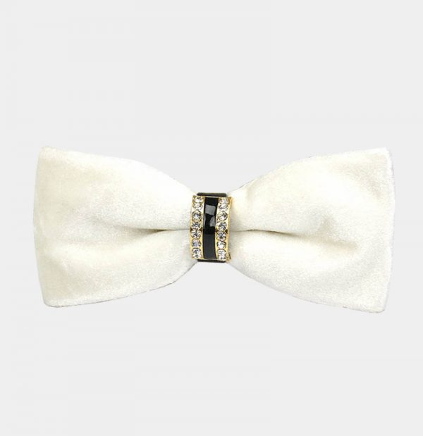 Mens White Velvet Bow Tie from Gentlemansguru.com