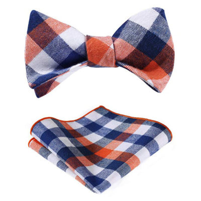 Orange And Blue Plaid Bow Tie Set