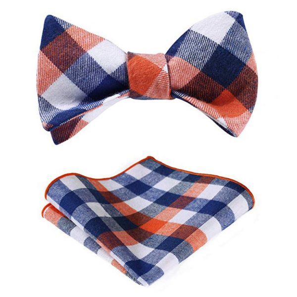Orange And Blue Plaid Bow Tie Set