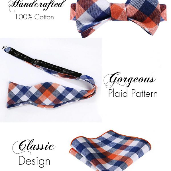 Orange And Blue Plaid Bow Tie Sets