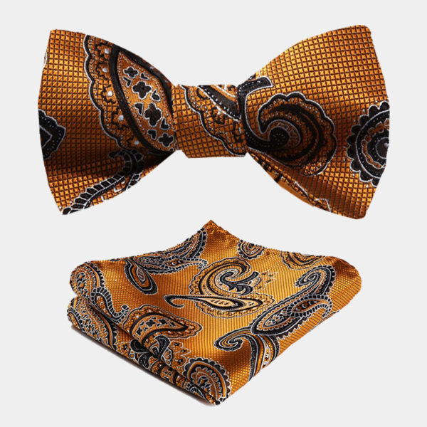 Orange Tangerine Paisley Bow Tie And Pocket Square Set from Gentlemansguru.com