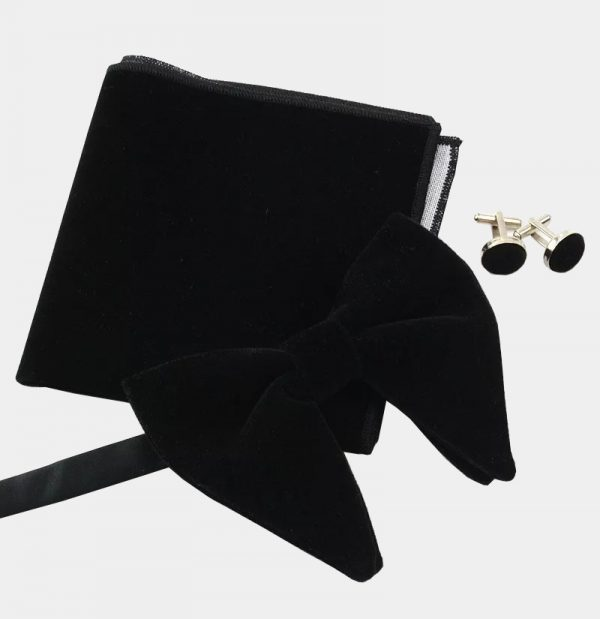 Oversized Black Velvet Bow Tie Set from Gentlemansguru.com