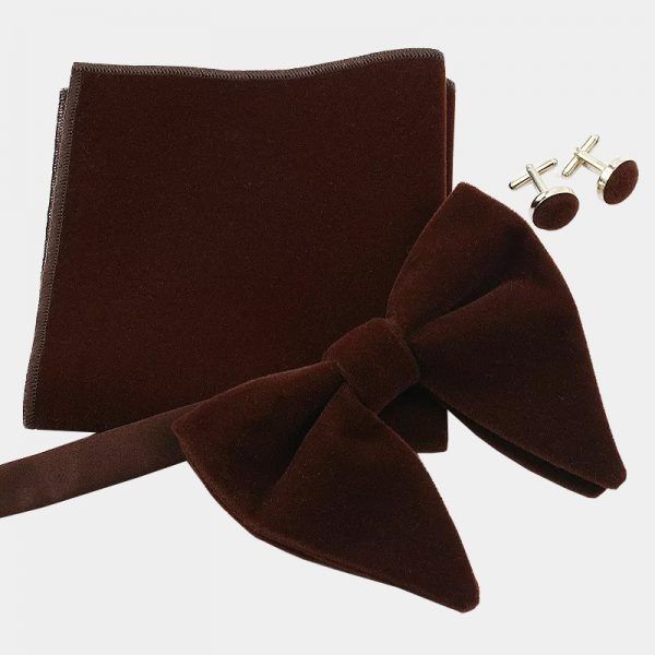 Oversized Brown Velvet Bow Tie Set from Gentlemansguru.com