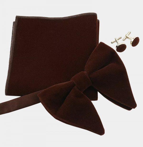 Oversized Brown Velvet Bow Tie Set from Gentlemansguru.com