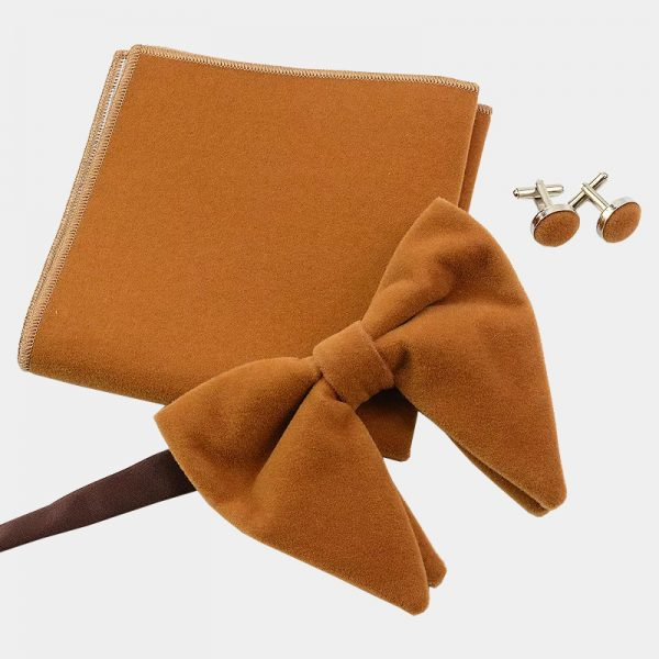 Oversized Camel Velvet Bow Tie Set from Gentlemansguru.com
