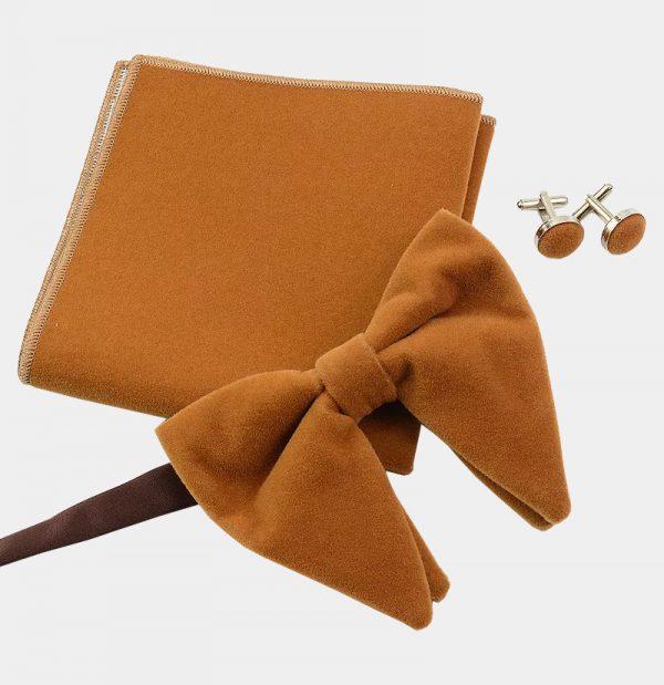 Oversized Camel Velvet Bow Tie Set from Gentlemansguru.com