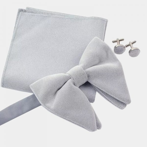 Oversized Gray Velvet Bow Tie Set from Gentlemansguru.com