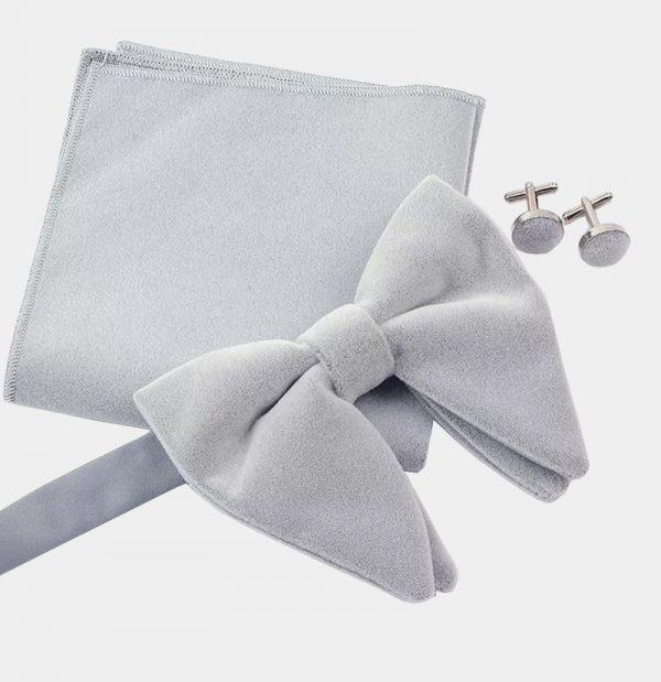 Oversized Gray Velvet Bow Tie Set from Gentlemansguru.com