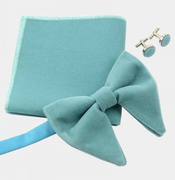Oversized Light Blue Velvet Bow Tie Set from Gentlemansguru.com