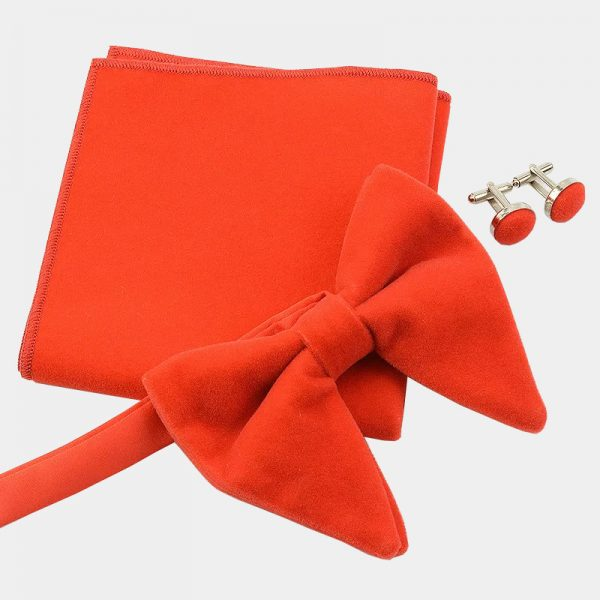 Oversized Orange Velvet Bow Tie Set from Gentlemansguru.com