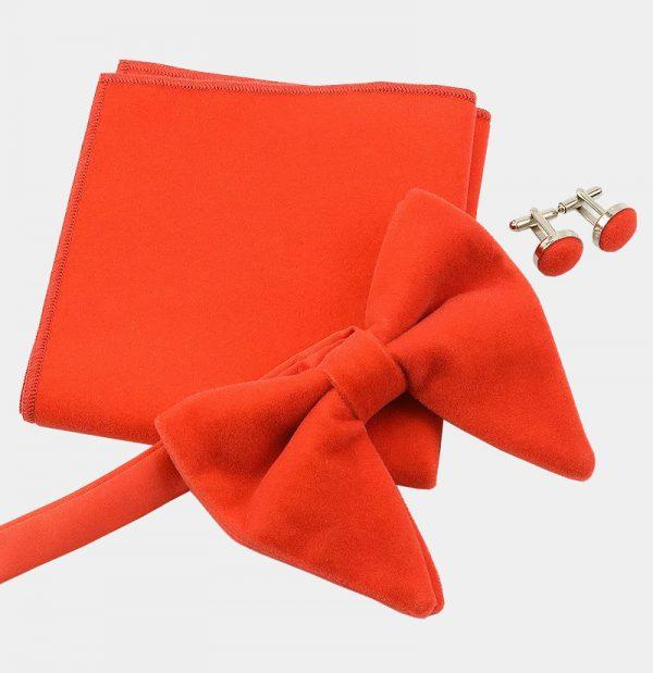 Oversized Orange Velvet Bow Tie Set from Gentlemansguru.com
