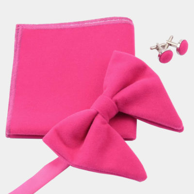 Oversized Pink Velvet Bow Tie Set from Gentlemansguru.com