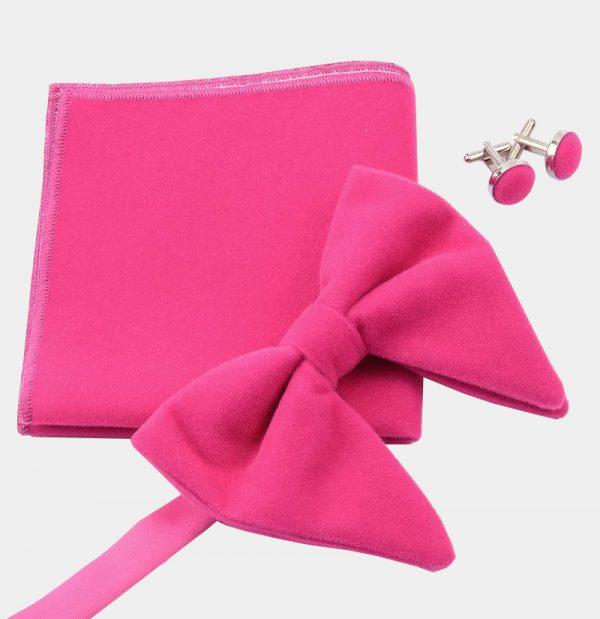 Oversized Pink Velvet Bow Tie Set from Gentlemansguru.com