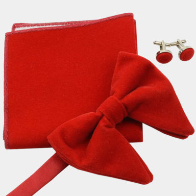 Oversized Red Velvet Bow Tie Set from Gentlemansguru.com