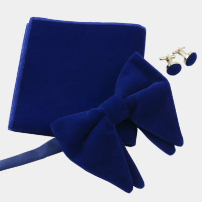 Oversized Royal Blue Velvet Bow Tie Set from Gentlemansguru.com