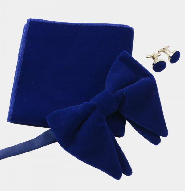 Oversized Royal Blue Velvet Bow Tie Set from Gentlemansguru.com