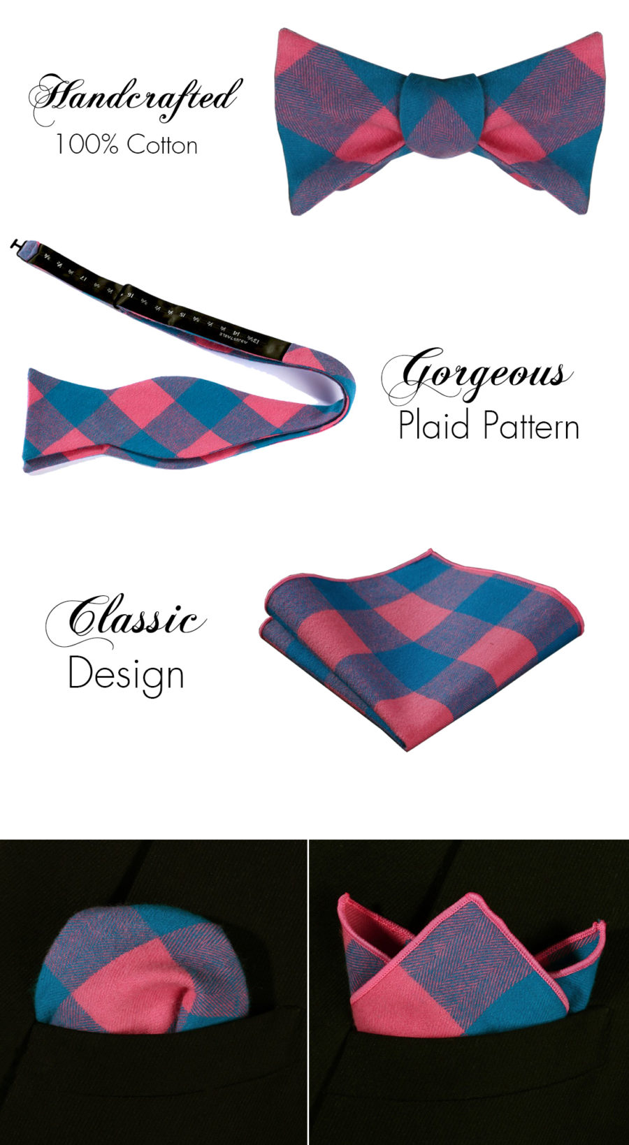 Pink And Blue Plaid Bow Tie Sets