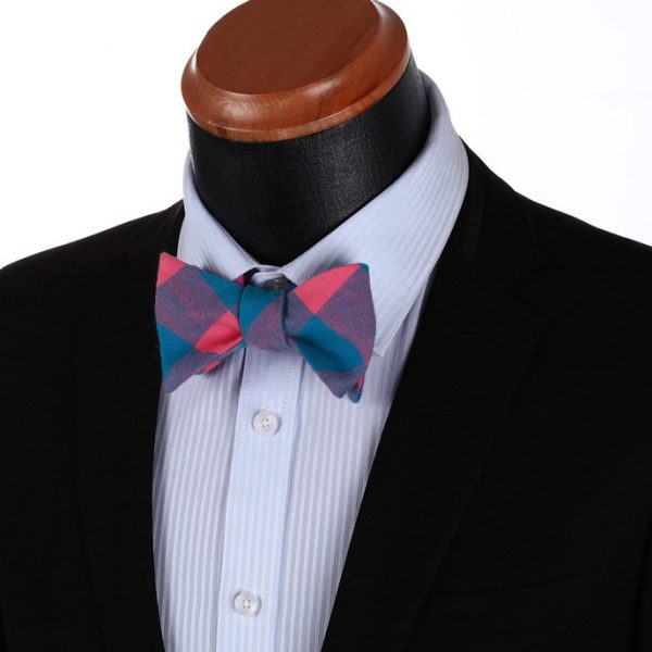 Pink And Blue Plaid Bow Tie