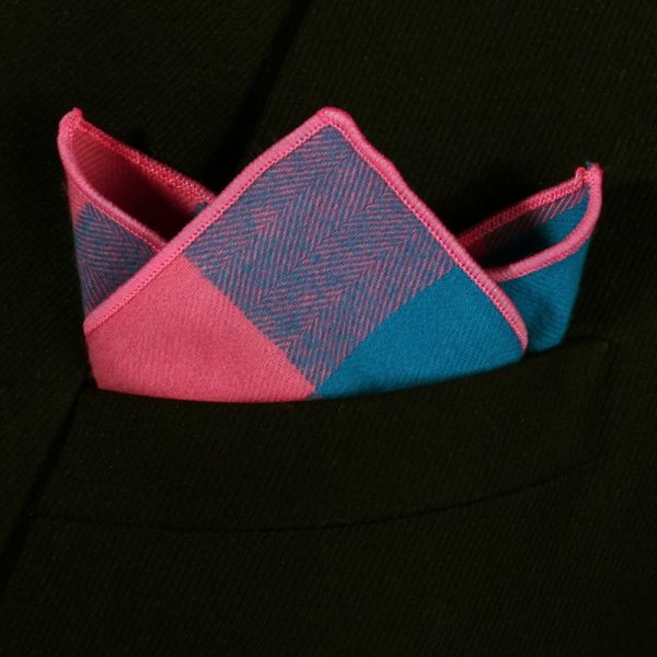 Pink And Blue Plaid Handkerchief