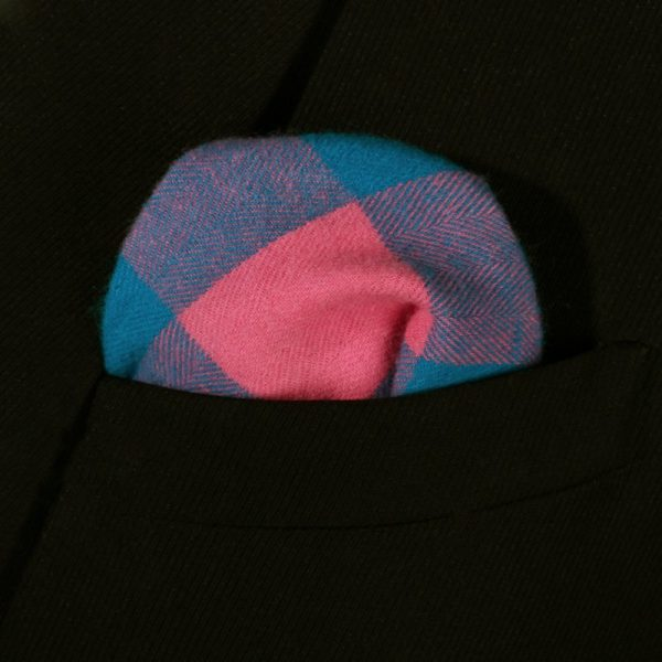 Pink And Blue Plaid Pocket Square