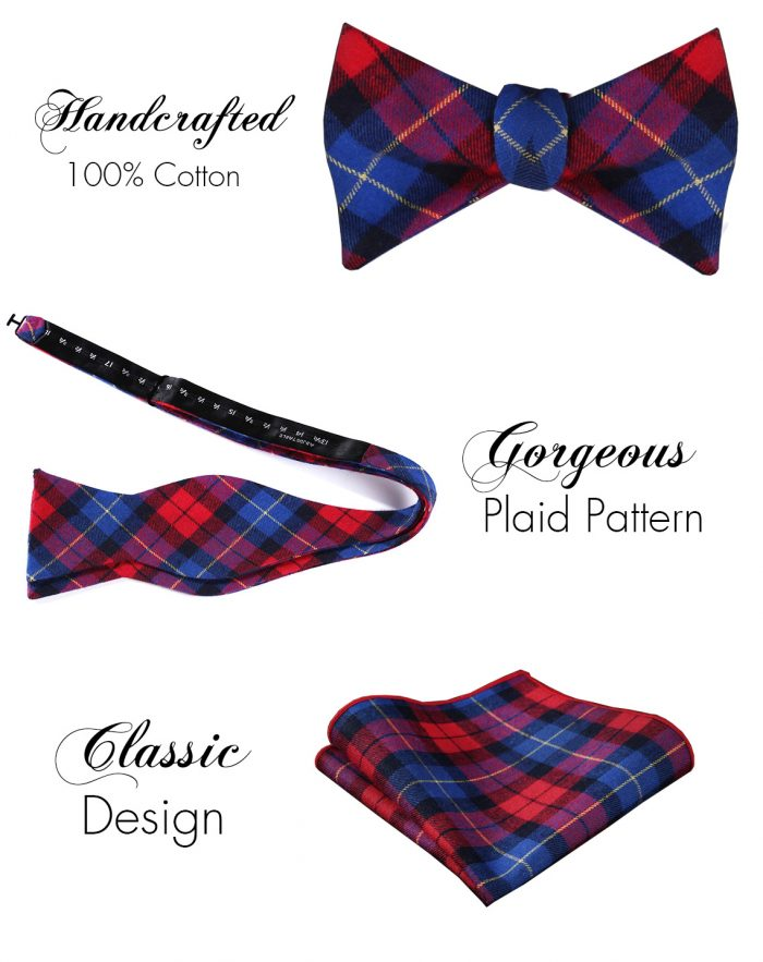 Red And Blue Plaid Bow Tie Set