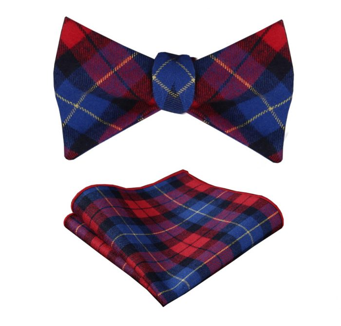 Red And Blue Plaid Bow Tie Sets