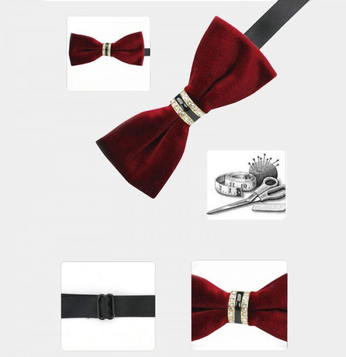 Crystal Velvet Burgundy Bow Tie from Gentlemansguru.com