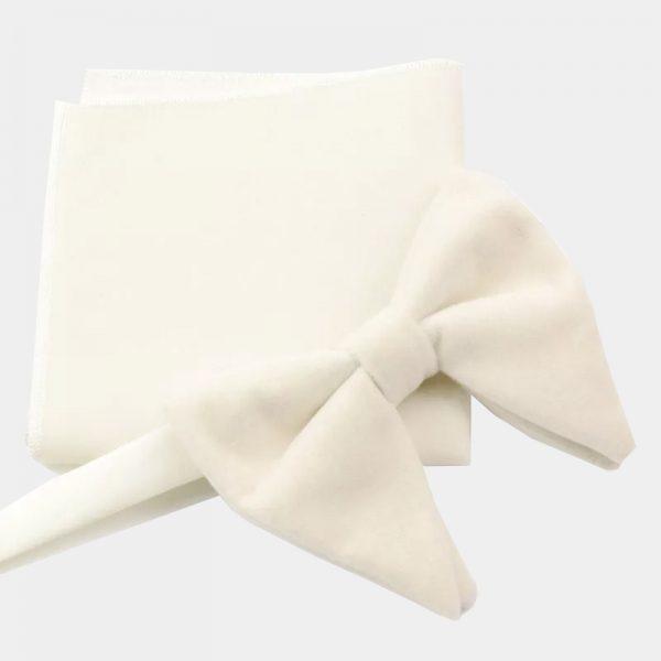 White Oversized Velvet Bow Tie from Gentlemansguru.com