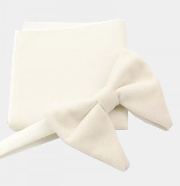 White Oversized Velvet Bow Tie from Gentlemansguru.com