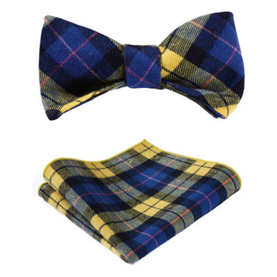 Yellow And Blue Plaid Bow Tie Sets