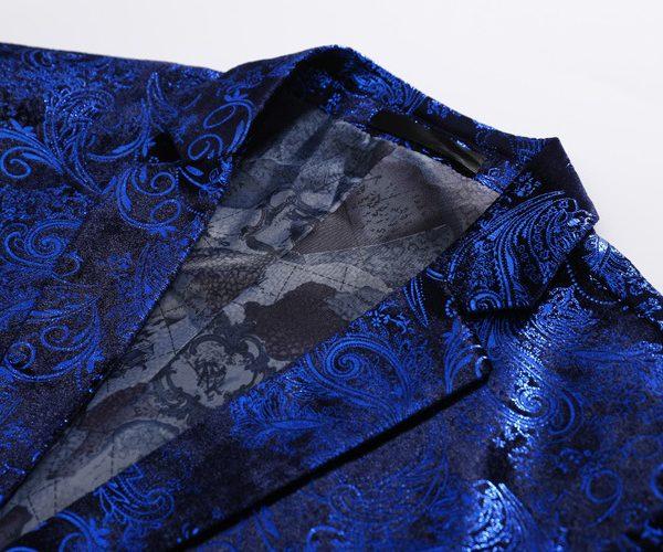 Black And Blue Floral Blazer Mens