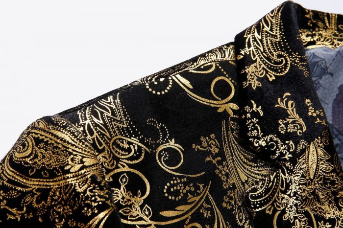 Black And Gold Flower Print Blazer