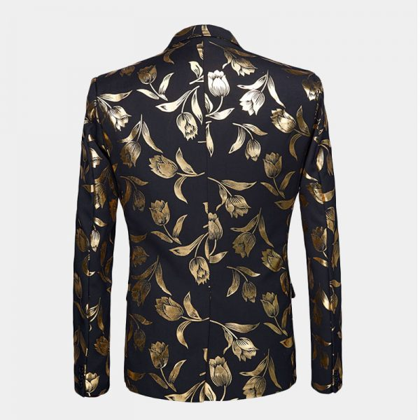 Black And Gold Floral Tulips Tuxedo Blazer