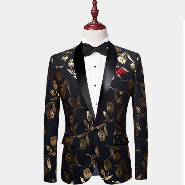 Black And Gold Floral Tulips Tuxedo Jacket