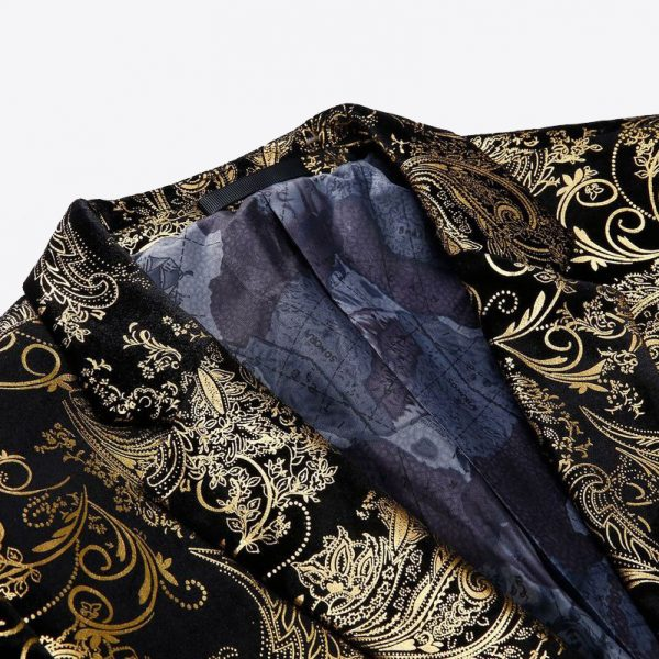 Black And Gold Mens Jacket With Floral Print Vintage Style
