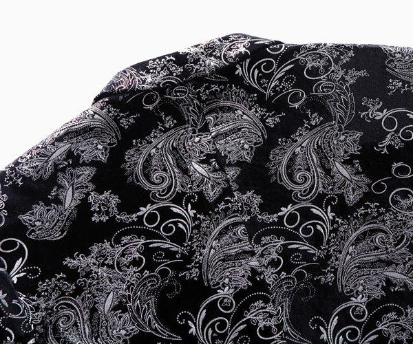 Black Silver Floral Velvet Blazer