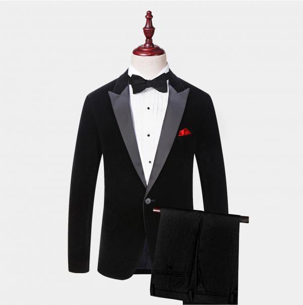 Black Velvet Tuxedo Suit With Peak Collar