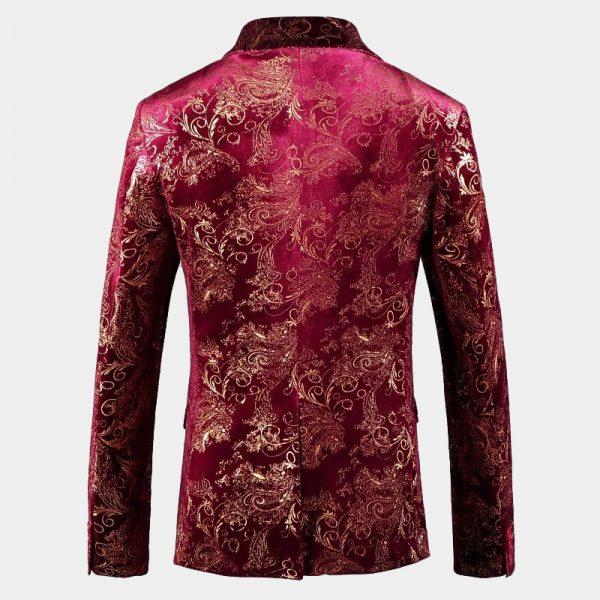 Burgundy And Gold Floral Blazer For Men