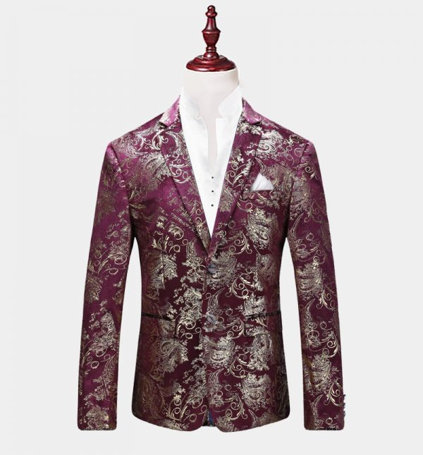 Mens Purple And Gold Floral Blazer
