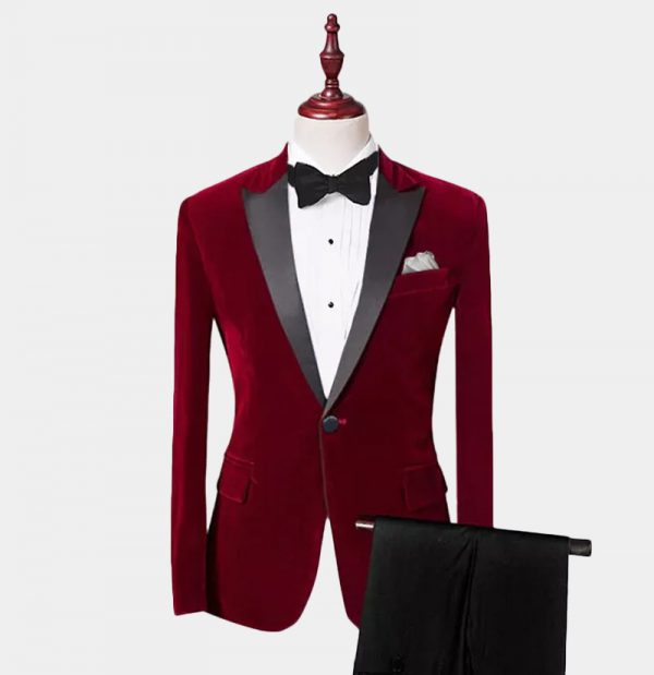 Burgundy Velvet Tuxedo Suit With Peak Collar from Gentlemansguru.com