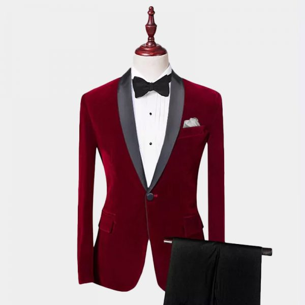 Burgundy Velvet Tuxedo Suit With Shawl Collar from Gentlemansguru.com