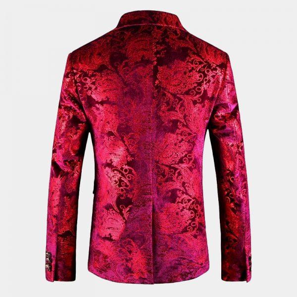Crimson Red floral Velvet Blazer Mens